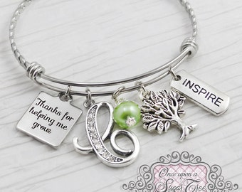 Teacher Jewelry, Bangle Bracelet- Teacher Appreciation Gift-Thank you for helping me grow, Tree charm, Inspire,Charm Bracelet, charm, Wire