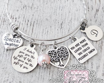 Adoption Jewelry, I didn't give you the gift of life life gave me the gift of you, Stepdaughter Gifts, Personalize-Adopted Daughter Gift
