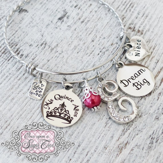 Letter Bangle Bracelet Personalized Jewelry- Mis Quince Anos 15th Birthday Gift Jewelry- Crown,-Number 15 Quinceanera GIFT Guardian Angel