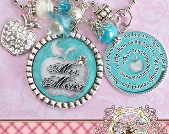 Teacher Gift Personalized Necklace (or Key chain), Inspirational Quote, Thank You Gift, Teacher Appreciation, Rhinestone Apple Charm, Damask
