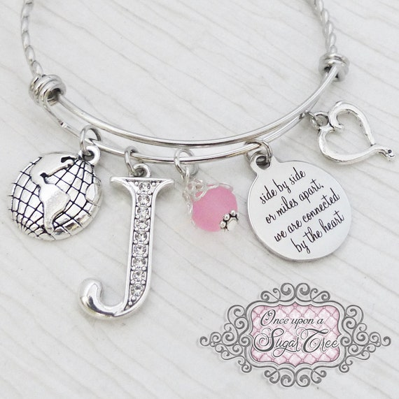 Personalized Birthday Gift for a Long Distance Friend-side by side or miles apart we are connected by the heart Bracelet Moving Away Gift