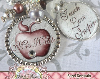 Teacher Gift Personalized Name Elegant Apple, TEACH LOVE INSPIRE- Keychain, Teacher Appreciation, Rhinestone Apple Charm, Damask, Copper