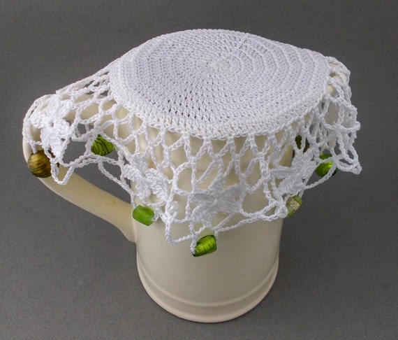 Crochet Jug Cover With Green Beads Beaded Glass Cover Bowl Etsy