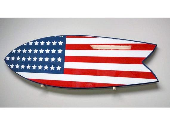 American Flag 54 inch Retro Fish Surfboard Wall Hanger Custom