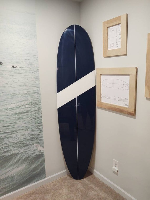 Navy and White Decorative Wooden Surfboard Wall Decor Art