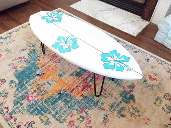 "Hibiscus Surfboard Coffee Table 48"""