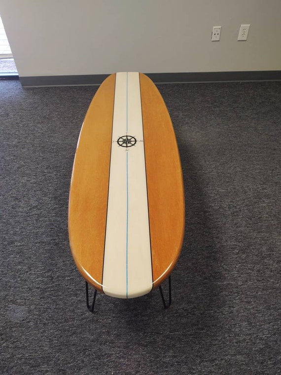 """48"""" x 16"""" Surfboard Coffee Table Wooden Surfboard Table Surf Furniture"""