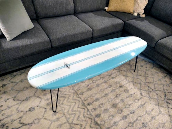 Weathered Surfboard Coffee Table Wooden Surfboard Table Surf Furniture