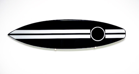 Chanel Inspired Modern Black and White High Gloss Epoxy Surfboard Wall Art