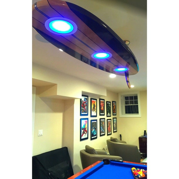 Surfboard Pool Table Billiard Game Room Bar Ceiling Light