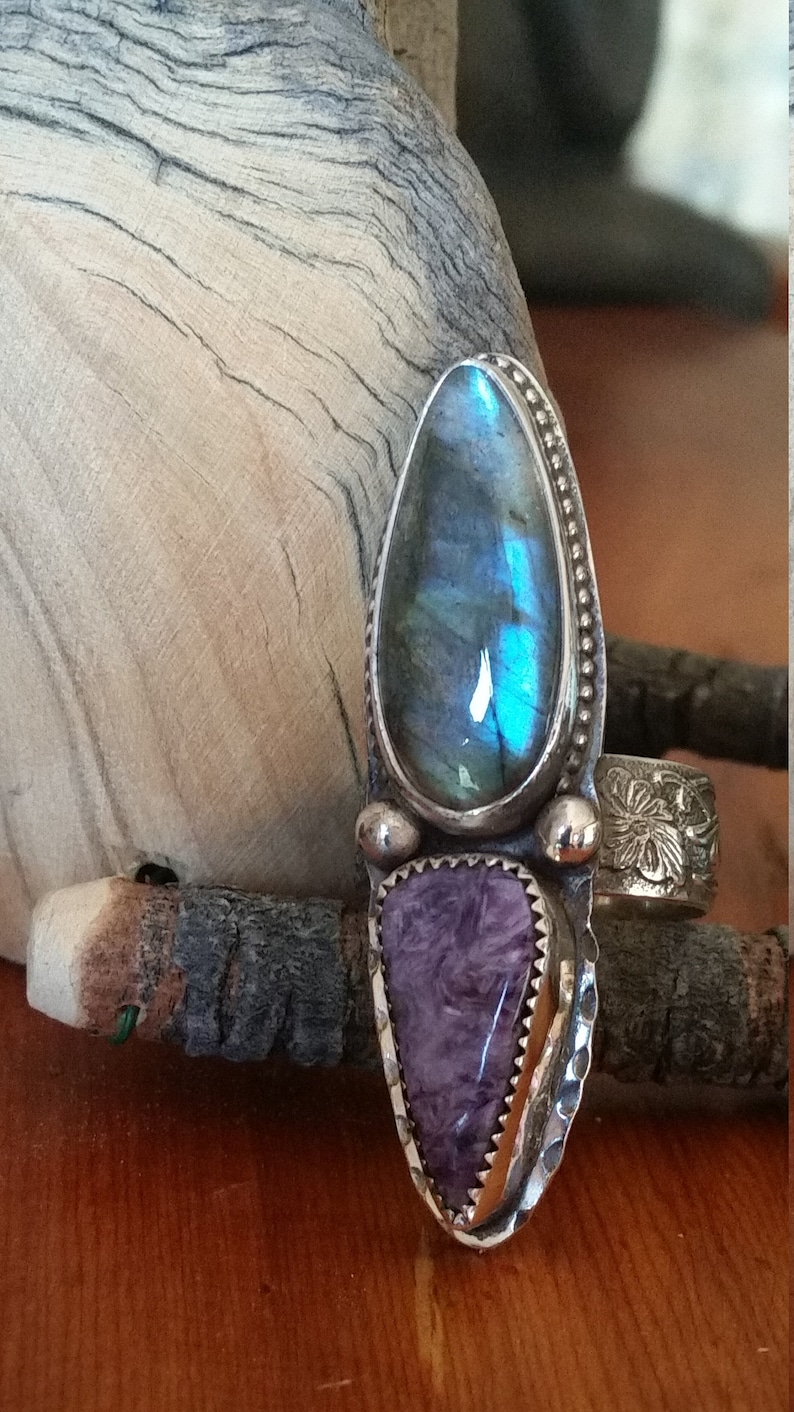 Charoite and Labradorite Ring
