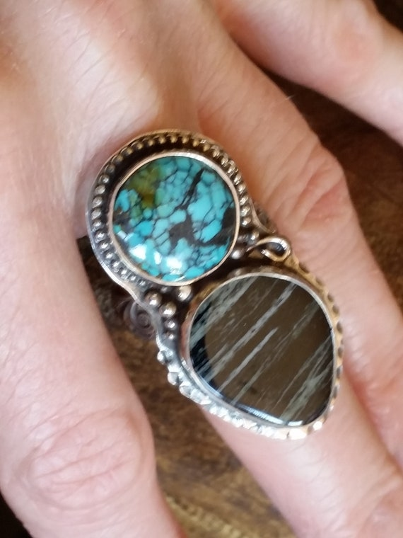 Charoite and Turquoise 2 Stone Ring