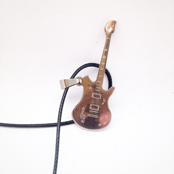 Electric Guitar Pendant Guitar Necklace Mens Necklace Guitar Etsy