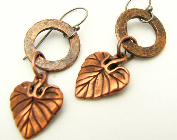 Copper Earrings Rustic Copper Jewelry Leaf Charm Fall Earrings Dangle Earrings Circle Hammered Earrings  Gifts for Her