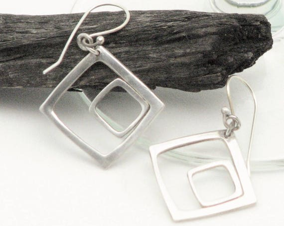 Square Earrings Everyday Sterling Silver Geometric Minamalist Jewelry Metal Work Archetectual Modern Mothers Day Gifts For Her