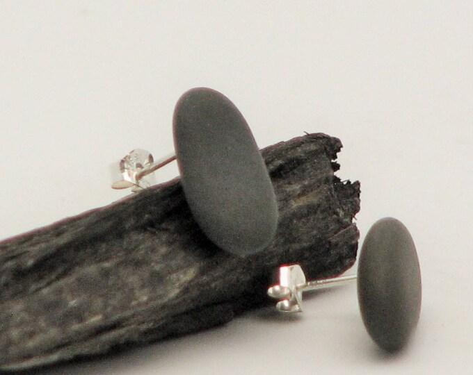Beach Stone Jewelry Post  Earrings  Sterling Silver Stud Pebble Earrings, Black Stone, Rustic Earthy Beach Stone Jewelry Organic Beach Wear
