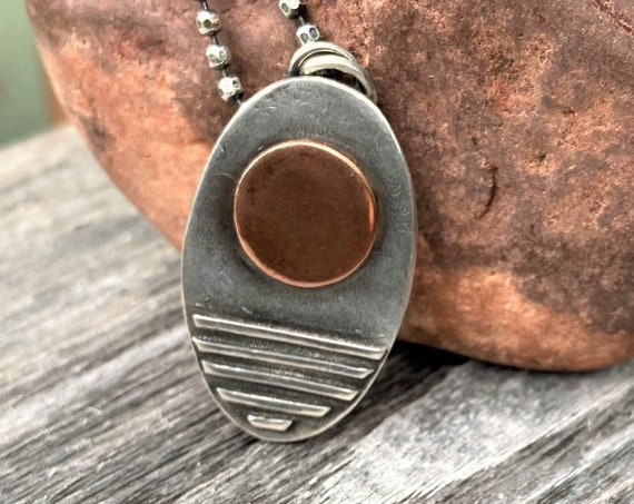"""Sun / Moon Necklace Copper and Sterling Silver Rustic Silver Jewelry Celestial Artisan Rustic Earth Eco Friendly """"Full Moon"""" Organic"""