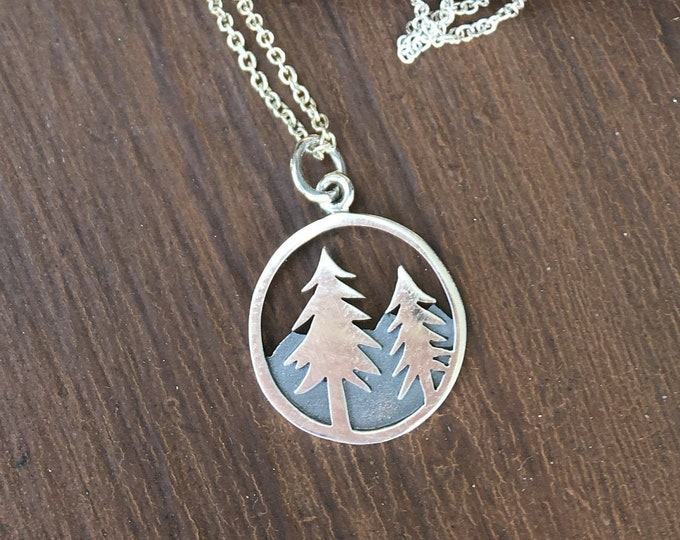 Silver Mountain Range Pine Tree Necklace Simple Jewelry Petite, Vacation Hiking /Trail Travel Charm Hancrafted Gifts For Her