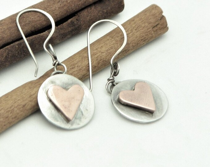 Heart Earrings Mixed Metal Copper and Silver Jewelry Trendy Modern Wire Wrapped Dangle Earrings Rustic Earthy Artisan Made Valentines Day