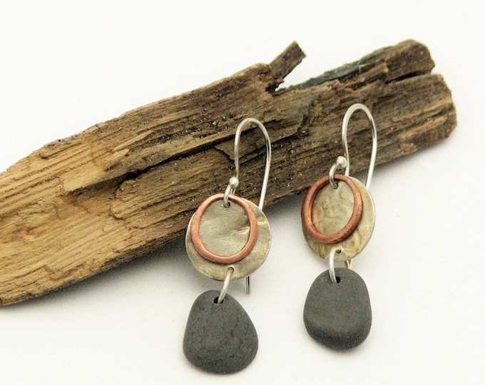 Beach Stone Jewelry Pebble Earrings Copper Hoop and Silver Disk  Petite Dangle Natural Earthy Rustic Jewelry Organic Everyday Earrings