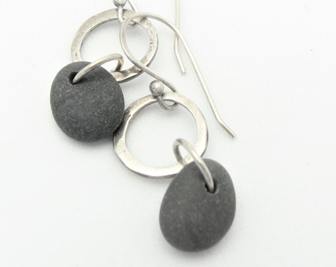 Beach Stone Jewelry  Tiny Petite Pebble Earrings Silver Hoop  Dangle Natural Earthy Rustic Jewelry Organic Elegant Everyday Earrings