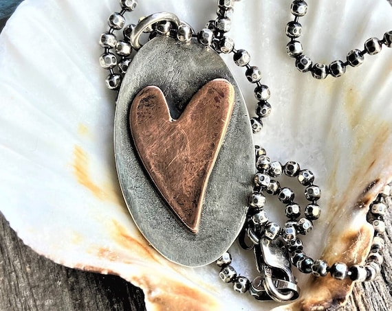 Copper and Silver Heart Necklace Rustic, Earthy, Simple Jewelry, Oval Heart Pendant Unique Jewelry Artisan Made Handcrafted Gifts For Her