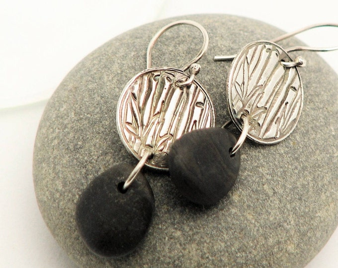 Beach Pebble One of a Kind Dangle Earrings  Raw Sterling Silver Lake Superior Stone Rustic Bamboo Motif Organic Elegant Unique Earrings