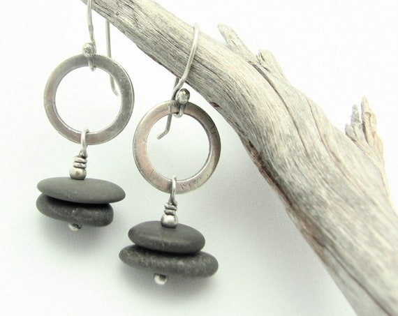Hoop Earrings Cairn Beach Stone Jewelry Raw Sterling Silver Dangle Pebble Earrings Natural Earthy Rustic Organic Elegant Everyday Earrings