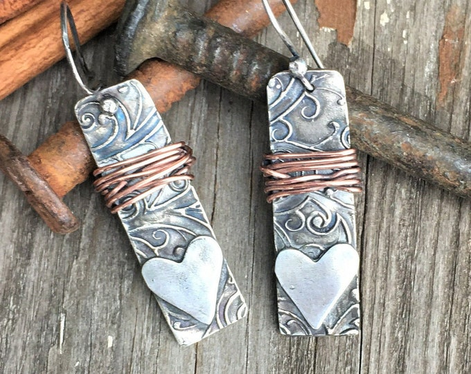 Rectangle Bar Heart Dangle Earrings Mixed Metal Wire Wrapped Jewelry Designer Rustic Silver Earrings Textured One of a Kind Gifts For Her