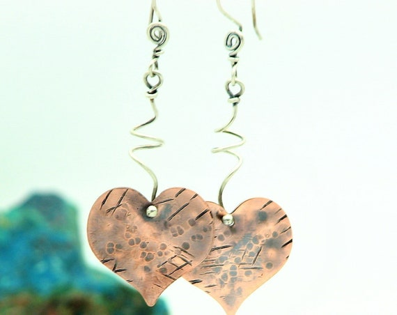 Heart Dangle Earrings Valentines Day Hammered Copper Metal Work Natural Jewelry Sterling Silver Mixed Metal Earrings Everyday Jewelry