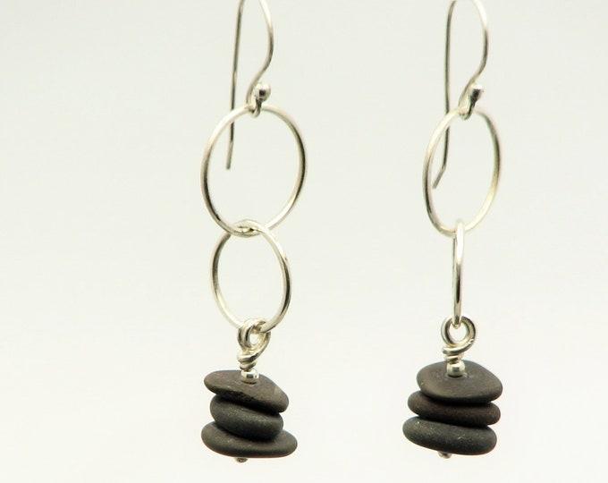 Hoop Earrings Beach Stone  Jewelry Dangle Cairn Pebble Earrings  Natural Earthy Rustic Jewelry Organic Elegant Everyday Earrings
