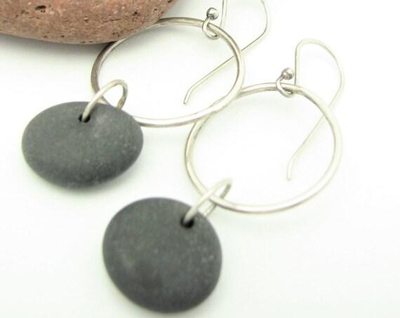 Silver Hoop Earrings Beach Stone Jewelry Natural Earthy Rustic OJrganic Elegant Everyday Earrings Lake Superior Hiking/Trail Jewelry
