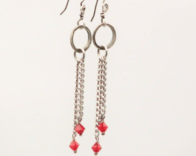 Sterling Silver Chain Dangle Earrings/Red Cubic Zirconia Sterling Silver /Long Drop Earrings//Simple and Flirty/Minimalist Earrings
