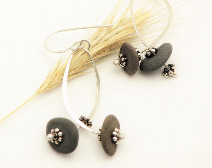 Beach Stone Jewelry Pebble Earrings  Sterling Silver Wire Long Dangle  Earrings Earthy Rustic Jewelry Organic Elegant Everyday Earrings