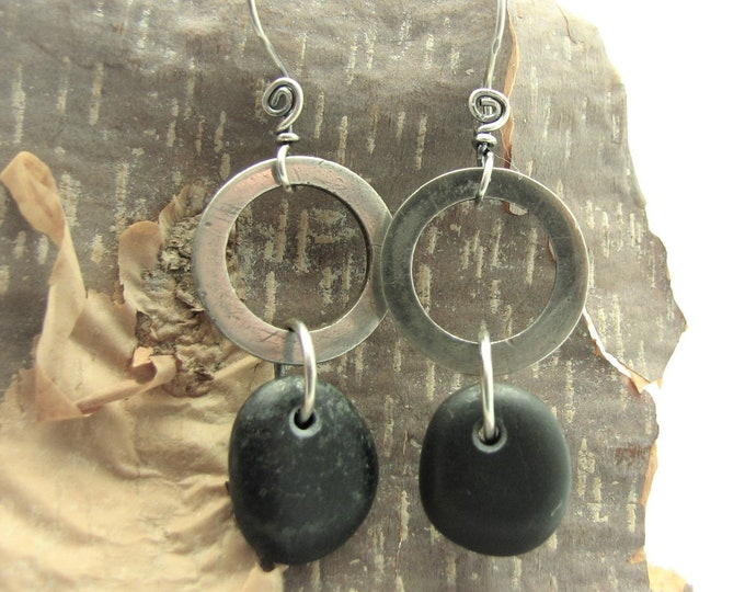 Raw Silver Pebble Earrings Beach Stone Dangle Earrings Silver Hoop Gifts for Her Natural Earthy Rustic Jewelry Organic Everyday Earrings