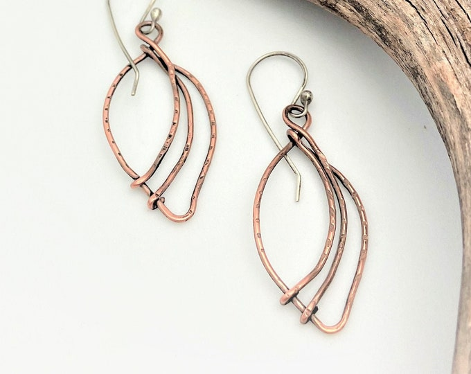 Copper Leaf Shaped Earrings Rustic Modern Copper Jewelry Trendy Dangle Earrings Leaf Nature Earrings  Gifts for Her