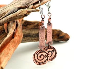 Spiral Zen Copper Dangle Earrings Hippie Bohemian Earrings  Everyday Minamalist Jewelry Long Mixed Metal Work Gifts For Her