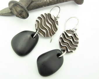 Natural Stone Dangle Earrings  Raw Sterling Silver Lake Superior Waves Rustic Beach Stone Organic Elegant Unique Earrings One of a Kind