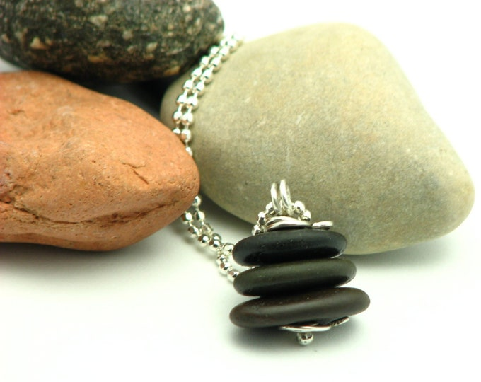 "Beach Stone Jewelry Cairn Necklace Vacation Travel Jewelry  Organic Pebble Hiking Outdoors Earthy Natural Stone Jewelry ""Zen Moment"""