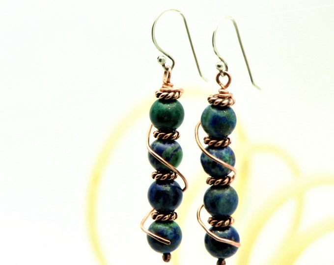 Copper Earrings Azurite Blue Gemstone Hippie Boho Long Dangle Wire warapped Jewelry Rustic Earthy Nature Jewelry Artsian Hand Fabricated