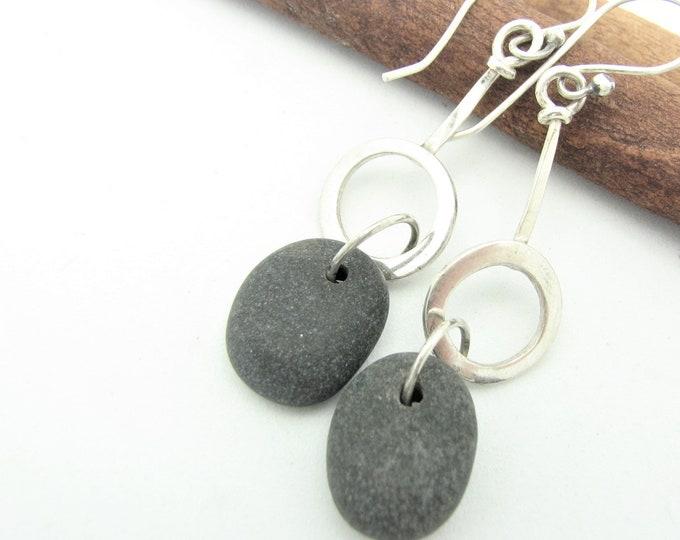 Black Stone Dangle Pebble Earrings Raw Sterling Silver Hoop Natural Earthy Rustic Everyday Jewelry Organic Elegant Everyday Earrings