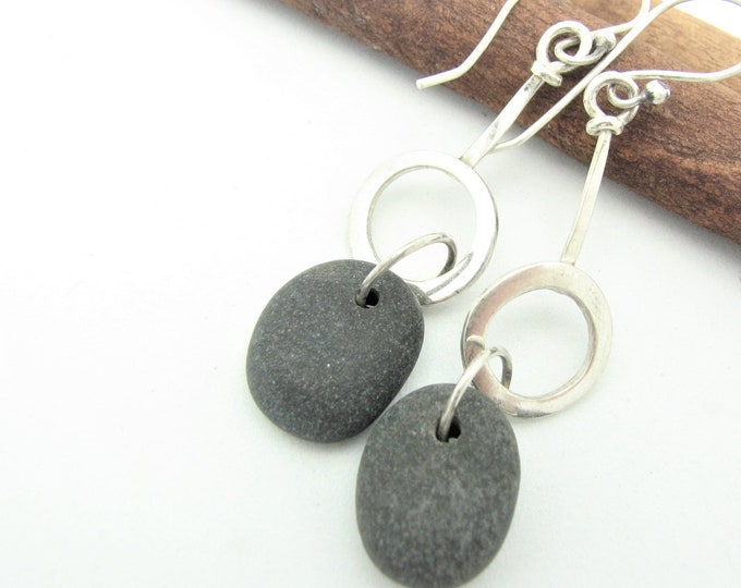 Natural Stone Dangle Pebble Earrings Raw Sterling Silver Hoop Natural Earthy Rustic Everyday Jewelry Organic Elegant Everyday Earrings
