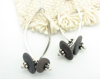 Rustic Pebble Earrings Unique Gifts for Her Sterling Silver Wire Long Dangle  Earrings Earthy Jewelry Organic Elegant Everyday Earrings