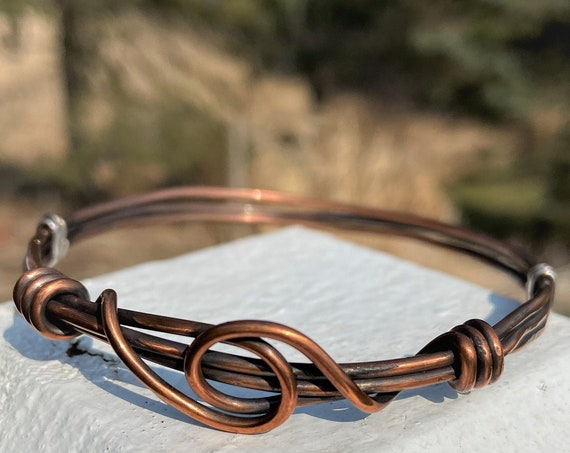 Copper Bangle Rustic Hammered Bracelet Wire Wrapped Jewelry Handmade Mixed Metal