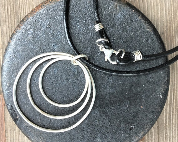 Circle Necklace Sterling Silver Triple Silver Circle Pendant 3 Ring Necklace Leather Wire Wrap Hippie BoHo Modern Edgy Earth Rustic Jewelry