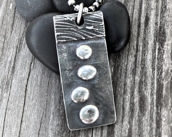 Raw Silver Necklace Artisan Jewelry Edgy Modern Rustic Earthy Jewelry Hand Sculpted JOURNEY Stepping Stones Eco Friendly Gifts For Her
