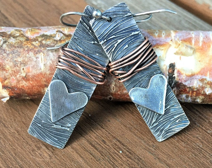 Heart Dangle Earrings Rectangle Silver Bar Wire Wrapped Jewelry Mixed Metal Designer Rustic Earrings Textured One of a Kind Gifts For Her
