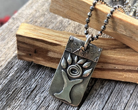 Tree of Life Silver Necklace Natural Jewelry Rustic Metal Work Jewelry Spiral Necklace Artisan Made Gifts for Her  Earth Jewelry Handmade