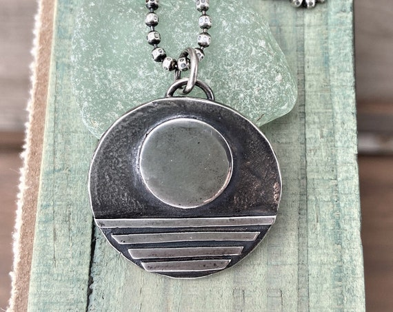 """Moon Necklace/Rising Sun Artisan Metal Work Jewelry Rustic Raw Sterling Silver Jewelry Eco Friendly """"Full Moon"""" Pendant Eco Friendly Organic"""