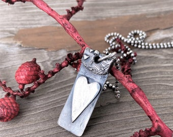Heart Necklace Sterling Silver Pendant Rustic, Earthy, Simple Jewelry, Dog Tag, Artisan Raw Silver Handcrafted Mother's Day Gifts For Her